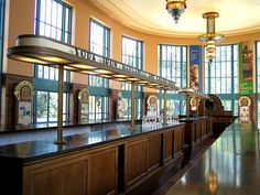 Art Deco water bar in the Hall of Waters, Excelsior Springs, Missouri, a WPA project. My parents use to buy Iron water here:)