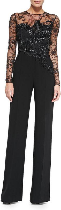 Very inspiring - Elie Saab Long-Sleeve Embroidered Lace Jumpsuit Jumpsuit Elegante, Jumpsuit Dressy, Lace Jumpsuit, Lace Dress, 80s Fashion, Couture Fashion, Fashion Outfits, Elie Saab, Couture Mode