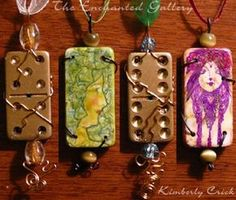 How-to Guide Rubber Stamped Domino Art Jewelry Pendants Stamp Dominoes. This has the words Rumney Gypsy allll over it!!!!!