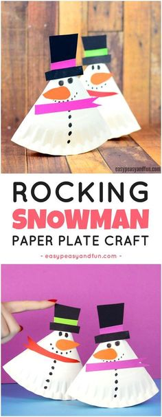 Rocking Paper Plate Snowman Craft for Kids. Fun paper plate craft for kids to make.