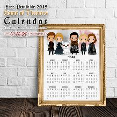 Attention all Game Of Thrones Fans.we have a New Free Printable 2018 Game of Thrones Calendar for you and we sure hope you enjoy! Printable Crafts, Party Printables, Free Printables, 2018 Printable Calendar, Printable Planner, Coloring Books, Coloring Pages, Game Of Thrones, Planners