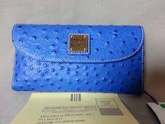 Dooney & Bourke Designer Wallet Ostrich Blue NWT New Leather $129