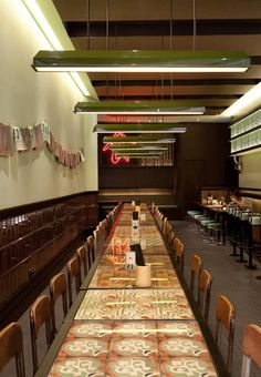 """Old Street Kobiteh restaurant, located in the Popcorn shopping mall in Hong Kong's Tseung Kwan O district, was designed by Nelson Chow to reference the Malaysian coffee shops called """"kopitiam"""". Hk Restaurant, Restaurant Lighting, Restaurant Interior Design, Chinese Restaurant, Cafe Interior, Interior And Exterior, Pub Design, Retail Design, Chinese Bar"""