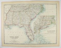 United States Map Vintage Map Download Antique Map History - Map of southern us states