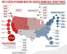 Where real estate prices are rising the fastest in the United States. Real Estate Prices, First Time Home Buyers, Real Estate Investing, Park City, Real Estate Marketing, Infographics, This Is Us, Finance, Frugal Living