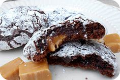 1 pkg. Rolo's  1box Devils Food Cake mix  2 eggs   1/3 c. oil    Mix cake mix, oil, and eggs. Take a small ball of dough and form a ball around the rolo. (Only use enough dough to cover the rolo so it can spread through the cookie.)    Place on greased cookie sheet and bake at 350 for 7-8 minutes. Yields about 3 dozen.    Sprinkle with powdered sugar, if desired.