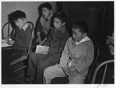 Children at Sunday school class, Manzanar Relocation Center, California
