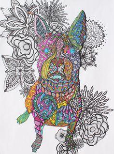 Zentangle Art--Boston Terrier
