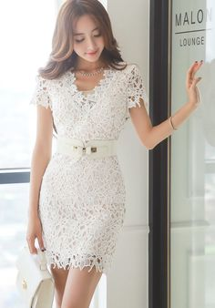StyleOnMe_Crochet Lace V-Neck Short Sleeve Dress #Lace #white #delicate #elegant #chic #dress #koreanfashion #cutout