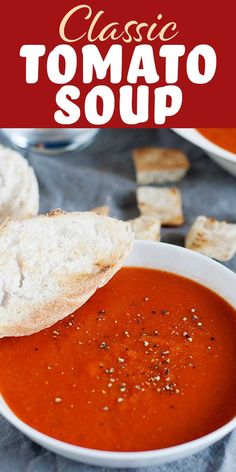 Recipes Snacks Easy This Classic Tomato Soup is rich with a velvety texture. It's easy to make with canned tomatoes, and perfectly suited for all of your grilled cheese dipping needs. Better than a can of Campbell's and just about as easy! Simply Recipes, Fall Recipes, Snack Recipes, Cooking Recipes, Vitamix Recipes, Gazpacho, Easy Tomato Soup Recipe, Simple Tomato Soup, Crockpot Tomato Soup