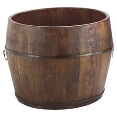 "Handcrafted elm wood bucket with wrought iron hardware.  Product: BucketConstruction Material: Wood and wrought ironColor: NaturalDimensions: 13"" H x 15"" Diameter"