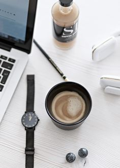 working at home - details with Royal Copenhagen black fluted mug and Lars Larsen watch   my-full-house.com