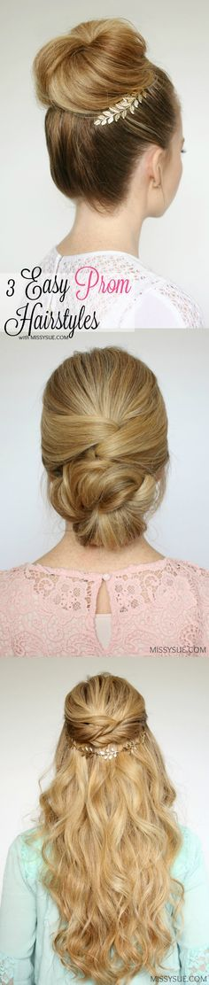 Spring has sprung and with that comes a plethora of events. Whether you're heading to prom, graduation, a wedding, maybe even a vacation, these three hairstyles are quick, easy, and pretty much perfect for whatever your occasion entails. It's got you covered with a high bun, low bun, and half up style; my favorite trio. Let me know what you think of these three beauties in the comments below and I'd also love to hear any input for future tutorials! Thank you so much, love ya much! 3 Easy…
