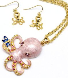 NECKLACE AND EARRING SET / CHARM / CRYSTAL STUDS / OCTOPUS / 16 INCH LONG / 2 INCH DROP / NICKEL AND LEAD COMPLIANT /