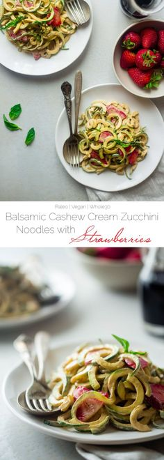 Vegan Strawberry Zucchini Noodles with Balsamic Cashew Cream - A simple, 20 minute healthy summer meal that requires no cooking, has only 6 ingredients and is paleo friendly, whole30 compliant and is under 300 calories! | @FoodFaithFit:
