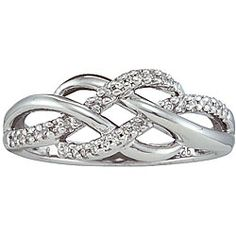 @Overstock - Click here for Ring Sizing ChartRing is crafted of sterling silverDiamonds adorn jewelry  http://www.overstock.com/Jewelry-Watches/Sterling-Silver-1-10ct-TDW-Diamond-Infinity-Fashion-Ring/3707139/product.html?CID=214117 $39.59