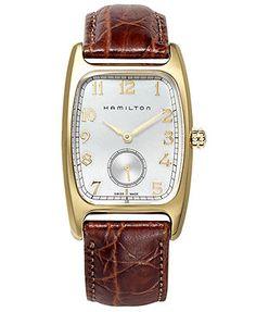 Hamilton Watch, Men's Swiss Boulton Brown Leather Strap 27mm H13431553