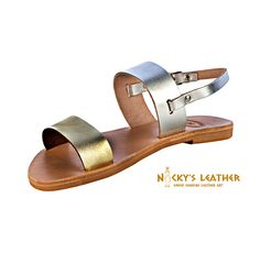 SLINGBACK Style SANDALS from 100% Full Grain Leather in Silver - Gold color by NickysLeather
