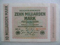 Old Paper Money 10 Billion German Marks Zehn Milliarden Mark Banknote