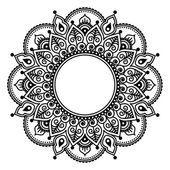 Mehndi Spitze, indische Henna-Tattoo Runde Design oder Muster — Stockvektor
