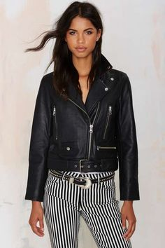 Nasty Gal Guns of Brixton Leather Moto Jacket