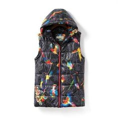 New Fashion Autumn Winter Cardigans Women's Print Birds Hooded Coat Sleeveless Down Vest