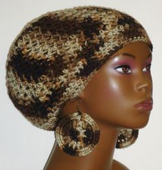Brown Camouflage Crochet Beret/Small Tam and Earrings by Razonda Lee