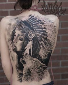 Interesting Super Stylish Full Back Tattoo for Girls #NativeAmericanTattoos