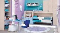 Great Blue And Purple Colors Themes Teenage Girl Bedroom Ideas Featuring Unique Light Blue Wooden Desk With Grey Polished Powder-coated Steel Accents Legs And Dark Blue Plastic Chair Plus Cool Round Purple Rugs Also Bunk Beds Integrated Natural Cherry Wood Wardrobe, Cute Teenage Girls Bedroom Decorating Ideas: Kids Room