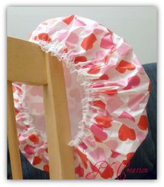 Valentine Shower Cap  Waterproof Vinyl Cap with by GiftCreation, $14.50