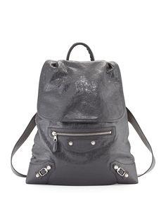 Giant Traveler's Lambskin Backpack, Gray - Balenciaga