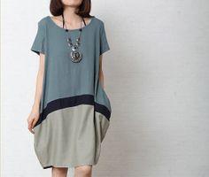 Blue/Grey Patchwork Loose Fitting Long Maxi Dress, Woman Loose Summer Skirt, Short Sleeves Linen Sundress for Women as Birthday Gift