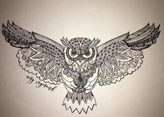 #zentangle #owl #sketch #doodle #pigma #copic #artismytherapist Doodle Art Letters, Doodle Art Journals, Owl Tattoo Design, Tattoo Designs, Buho Tattoo, Mountain Tattoo, Chicano Art, Tangle Patterns, Owl Art