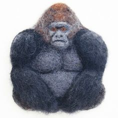 Decided to felt this big boy.  #gorilla #needlefeltgorilla #feltedgorilla #reliefart #woolpainting #fibreart #fiberart