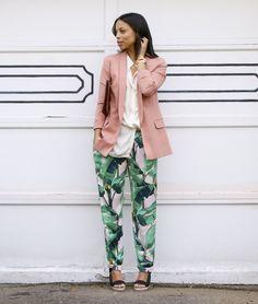 pale pink blazer + white blouse + palm print pants + black heels + cognac clutch