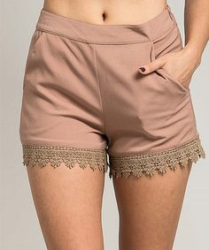 Another great find on #zulily! Mocha Lace-Trim Shorts #zulilyfinds