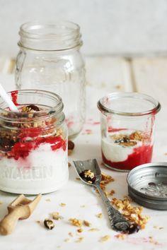 homemade granola with yogurt, vanilla bean puree & strawberries