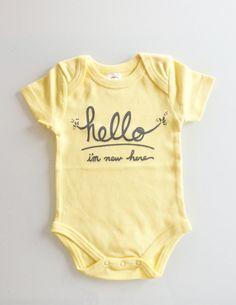 """""""Hello I'm New Here""""  gender neutral baby onesie (0-3 mo/newborn - butter/grey)"""
