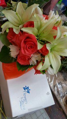 Lilies, freesia, roses