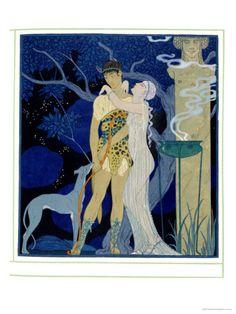 Art Deco illustration by Georges Barbier, ca. Greyhound Art, Inspiration Art, Art Et Illustration, Art Deco Fashion, Find Art, Vintage Posters, Venus, Art Nouveau, Giclee Print