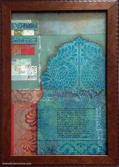 Scrapbook Paper Collage with teal color paper