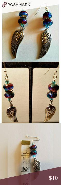 Wing Earrings New.  Metal wings with painted glass beads.  Sterling Silver earwire. Handmade Jewelry Earrings