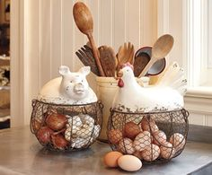 These are curious egg baskets, if you like country style things.