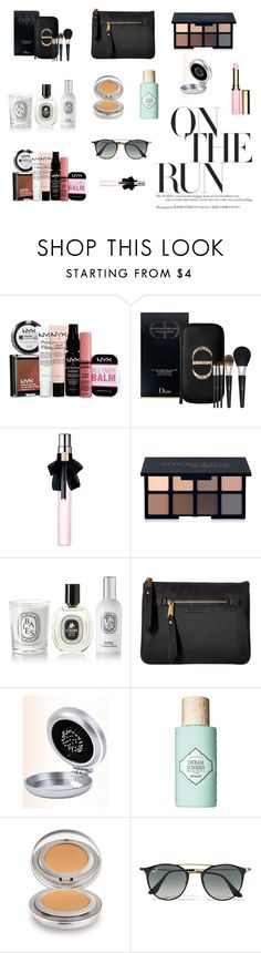 """Travel Beauty"" by daria-alexandra-711 ❤ liked on Polyvore featuring beauty, NYX, Christian Dior, Yves Saint Laurent, Smashbox, Diptyque, Marc Jacobs, Benefit, Laura Mercier and Ray-Ban"