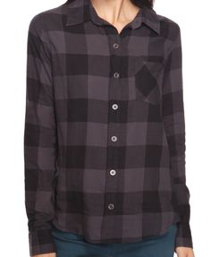 Large Gingham Shirt in Charcoal & Black $20