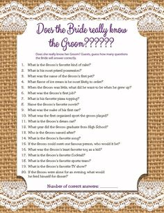 Custom/Personalized Bridal Shower Game