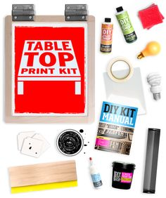 The Table Top Screen Printing Kit Includes Everything You Need To Set-Up Shop and Screen Print: 2 DIY Print Shop™ Click + Print Screen Printing Hinges Diy Screen Printing Kit, Screen Printer, Exposure Lights, Creative Christmas Gifts, Diy Shops, Art Lesson Plans, Diy Kits, Making Ideas, Diys