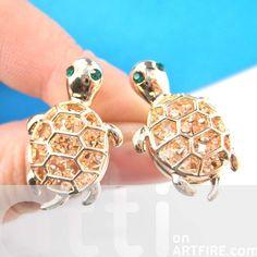 Cute Turtle Tortoise Sea Animal Stud Earrings in Gold with Rhinestones $8.99 #turtle #tortoise #sea #animal #stud #earrings #bling #rhinestones #cute