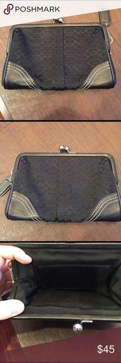 Coach coin purse clutch Black canvas and leather coin purse clutch. Excellent condition !!!! Coach Bags Clutches & Wristlets