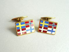 Vintage Enamel Cuff Links with Scandinavian flags by popgoesmyvintage on Etsy